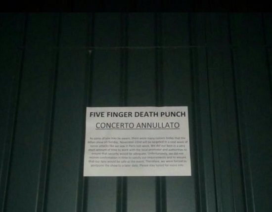 Parigi Five Finger Death Punch annullano concerto all Alcatraz di Milano