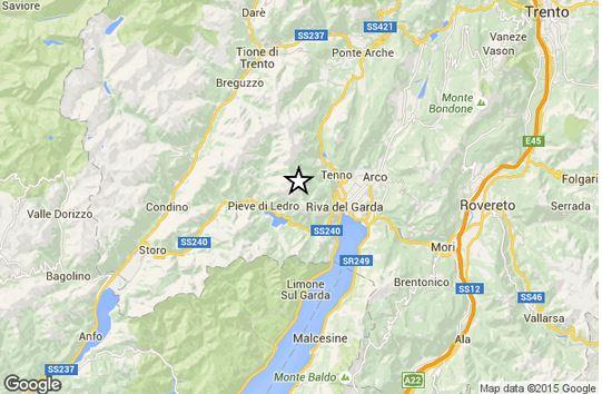 Terremoto Trentino Alto Adige, socssa M 3.0 Richter epicentro Trento