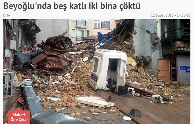 Crolla un palazzo nel centro di Istanbul: per fortuna nessun ferito